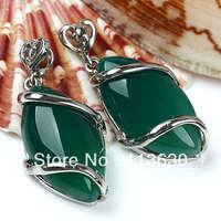 Green Agate Gemstone Horse Eye Bead Pendant 18x30mm