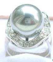 South Seas 14mm grey diamond sallei pearl ring gift