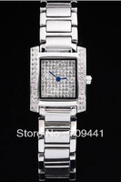 Luxury Ladies Watches Tank Anglaise White Diamond Dial Women Watch + Free Shipping