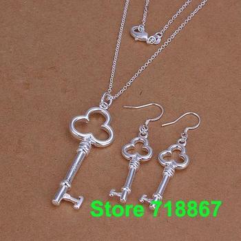 S1200 fashion jewelry sets 925 silver sets pendants bracelet earrings Three round key  /kpua thda