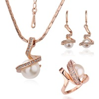Free Shipping 18K Gold Plated Pearl Necklace/Earrings/Rings Make With AU Crystal Set Fashion Jewelry RGP059