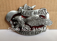 Live to Ride Ride to Live Fling eagle motor cycles BELT BUCKLE JF-B307,Free shipping