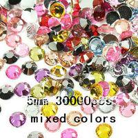 Free shipping 5mm SS20 10000pcs/bag  mixed colors pack Resin rhinestones flatback  20colors randomly