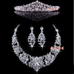 Special offer Crystal wedding bridal jewelry sets Wedding necklace earrings crown combination JU0007 free shipping(China (Mainland))
