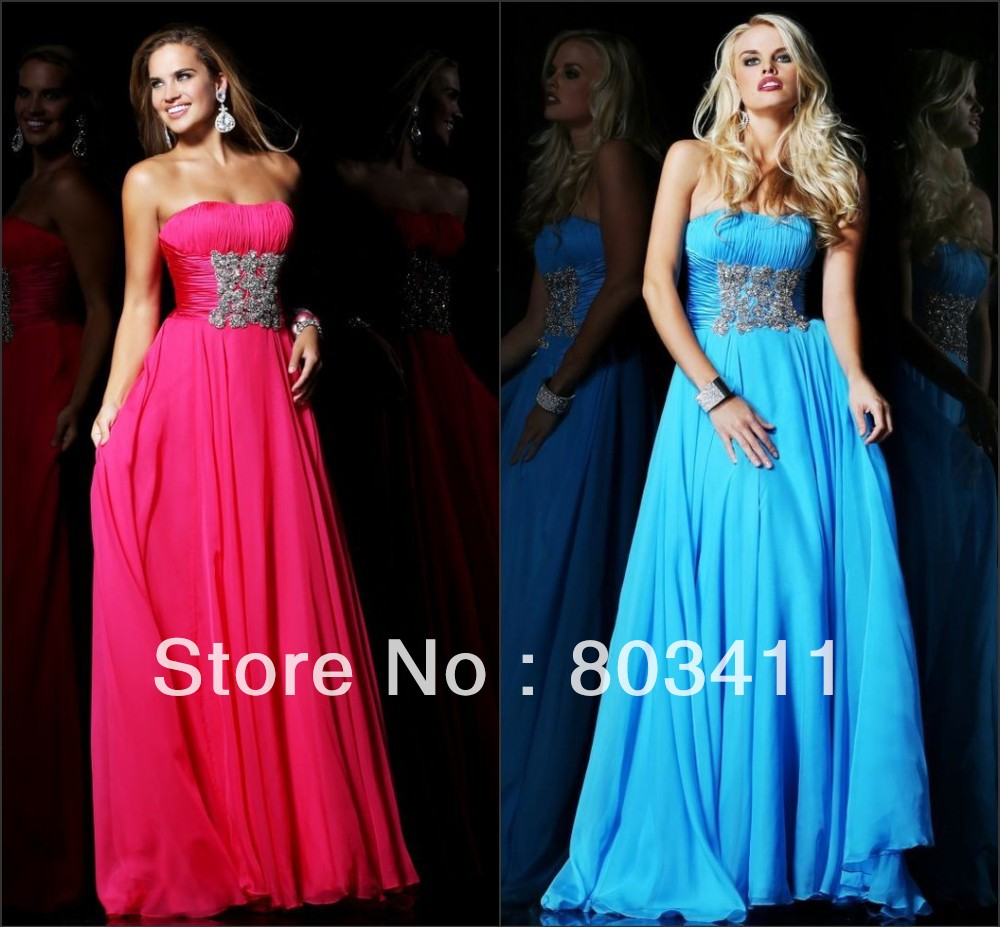 Free Shipping New Classy Strapless Floor-length Beaded and Ruched Bodice Evening Dresses(China (Mainland))