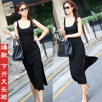 Vest design placketing sleeveless black long thin paragraph one-piece dress fashion one-piece full dress