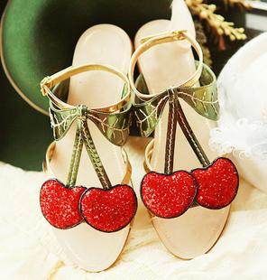New arrival Free shipping women's fashion sandals princess glitter summer flat flip flops cherry shoes cherry sandals