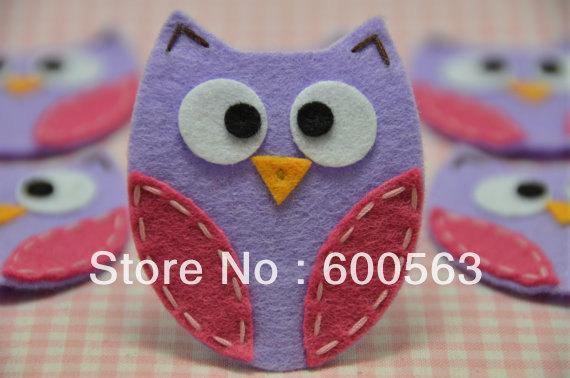 "2"" handmade felt owl felt Hair Clips baby Hair Bows headband hairbows 150pcs / lot no clip with(China (Mainland))"