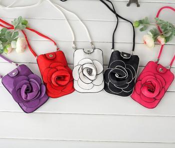 9 Colors!  Fashion Flowers Candy Women Purse Cell Phone Case Flower Mobile Bag Fone Pouch 14*9CM