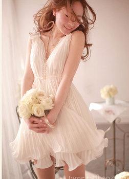 NEW summer dress 2014 women deep V-neck pleated white chiffon one-piece dress winter vestidos free shipping