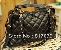 2012 winter women's handbag plaid pleated bubble handbag messenger bag big bags