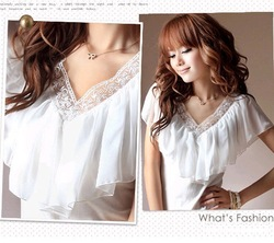 summer elegant gentlewomen V-neck fashion chiffon ruffle plain top women clothing white black free shipping(China (Mainland))