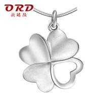 S925 pure silver pendants female brief clover pendant silver jewelry girlfriend gifts