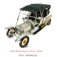 Antique craft 1910 rolls-royce silver ghost car model handmade craft home decoration bar coffee house display birthday gift