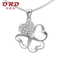 S925 pure silver pendants luxury cubic zircon silver pendant female four leaf grass gift