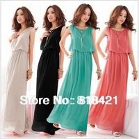 Hot Sell Womens Princess Bohemia Pleated Wave Chiffon Maxi Long Dresses 4 COLORS