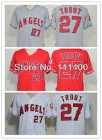 Free Ship 2013 new baseball jerseys #27 Mike Trout red white gray cool base baseball jersey Size:M-XXXL Can Mix order