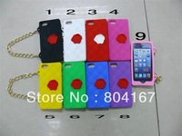 100 pcs/lot,  cute 3D wristlet purse chain bag soft  silicone back Case  skin for iPhone 5 5G 5th ,3 design