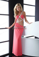 Custom Order Color One Strap Pattern Stretch Satin Sexy Evening Dress