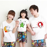 Family fashion summer moon short-sleeve T-shirt