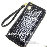 Fashion japanned leather women's long design wallet zipper clutch bag coin purse , free shipping