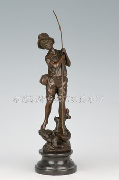 Antique Bronze Art Copper crafts home gifts exquisite fashion sculpture fishing rod little boy ds-200