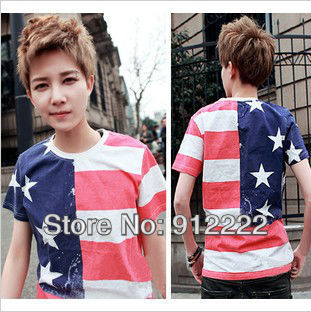 Free Shipping hot sale men Short Sleeve fashion t-shirt U.S. flag t shirts men 1pcs/lot(China (Mainland))