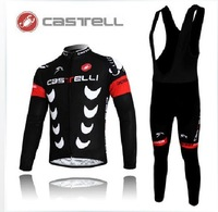Hot Sale!!! Castelli crescent moon Castelli long sleeve jerseys cycling clothes bicycle bike riding long jerseys+bibs pants sets