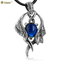Bahamut 925 Sterling Silver Jewelry Angel and Devil Sapphire Silver Pendant Necklace