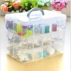 3 Layer 18 Slot Jewelry Adjustable Tool Plastic Storage Box Case Organizer Beads free shipping(China (Mainland))