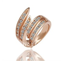 Free Shipping New Arrived Fashion Jewelry Trendy 18K Gold Plated Crystal Charm Fashion Ring Size Selectable