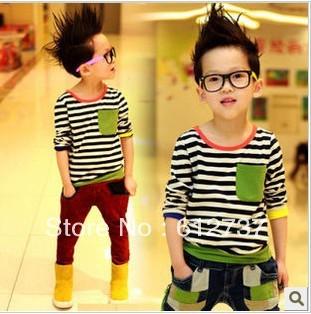 2013 Hot Selling Children Kids Clothing Boys T Shirt Long Sleeve Fashion Design Striped summer wear 5pcs/lot Free Shipping