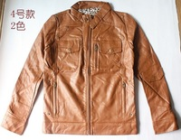 autumn and winter clearance male slim water washed leather clothing leather jacket motorcycle clothing outerwear/156