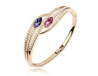 Free Shipping 18K Gold Plated Bangle/Cuff Make With AU Crystal,Crystal Bangle Wholesale Fashion Jewelry S064