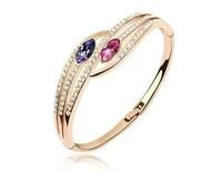 Free Shipping 18K Gold Plated Bangle/Cuff Make With AU Crystal,Crystal Bangle Wholesale Fashion Jewelry S064