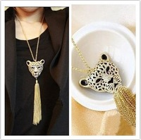 Min Order $10(Can Mix Orders)Fashion rhinestone leopard tiger Tassel Necklace with Long sweater chain
