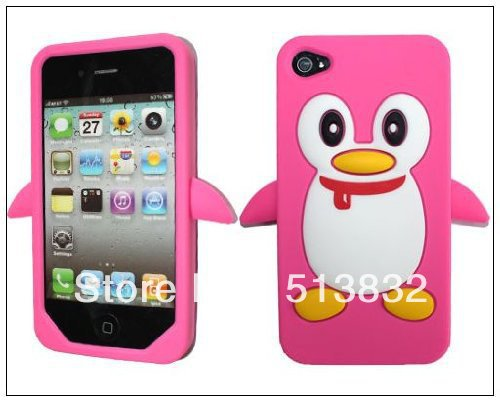 Hot Saling Penguin Soft Silicone Rubber Case cover for Apple iPhone 4s 4 4G Free Shipping(China (Mainland))
