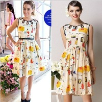 2013 woman new fashion spring summer  Europe style chiffon sleeveless  printed dress superstar design lady dress  S M L