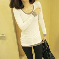 women's fashion slim o-neck all-match long-sleeve basic shirt slim t-shirt black and white