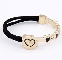 Free shipping heart design bracelet, pink elastic band bracelet. Min order is $15, can mix designs