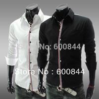 Hot Sale Fashion Designer Casual Shirt For Men Long Sleeve Slim-Fit Social Male Shirt Camisas Masculino Free Shipping QyCS12