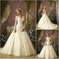 WA032 2012 Elegant emprie waist long sleeve lace wedding dresses