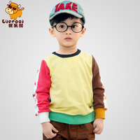 Children's clothing child sweatshirt color block decoration pullover male female child long-sleeve T-shirt 100% cotton