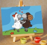 Child diy digital oil painting decorative painting romantic sheep 10 15 easel