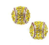 top trendy free shipping Softball Earrings Stud Crystal Rhinestone Silver Bling Yellow Fastpitch Earring for women