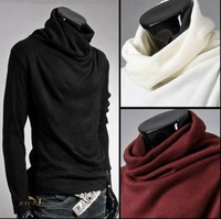 Selling UYUK required super cool autumn and winter rotating collar men backing turtleneck sweater