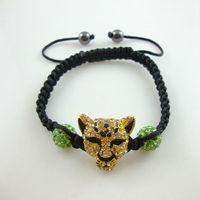 Free Shipping New wholesale Shambala Charm Disco Ball Bead Bracelet with tiger New T-Paris Shambhala Rhinestone Crystal  Jewelry