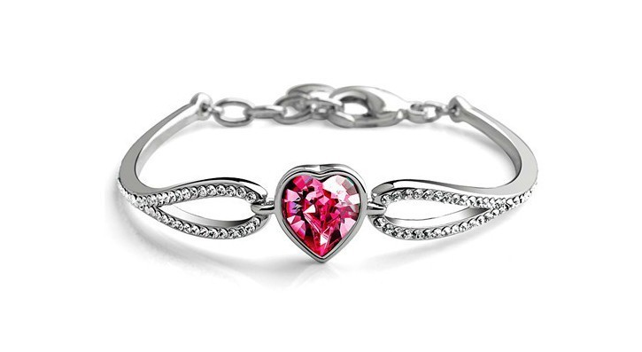 White Gold Plated Heart Bracelet Make With AU Crystal,Crystal Bracelet Wholesale Fashion Jewelry S063(China (Mainland))