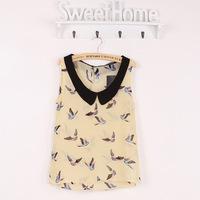 hot sale free shipping bird picture chiffon women sleeveless blouses