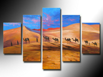 5 the African deserts style combination of pictures, abstract art style wall art, 100% handmade oil painting, caravans theme